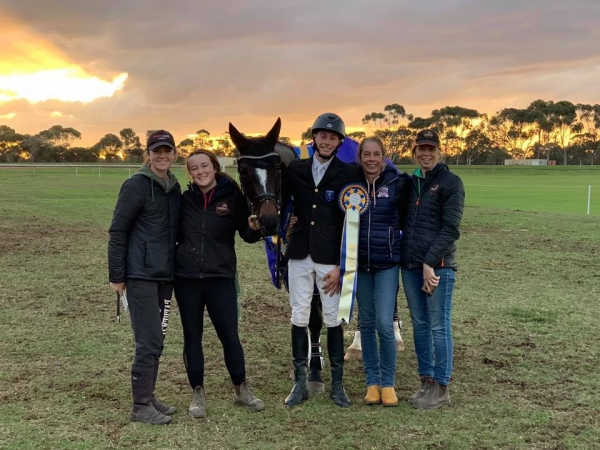 The Jeffree Eventing team celebrates a win for Fiona Mitchell's Woodmount Lolita at Melbourne International 3 Day Event in the CCI**L class!
