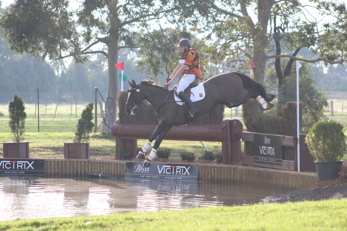 Sam Jeffree and Fiona Mitchell's Woodmount Lolita conquer the cross country to win at Melbourne International 3 Day Event 2019! Photo by Jess Tainsh