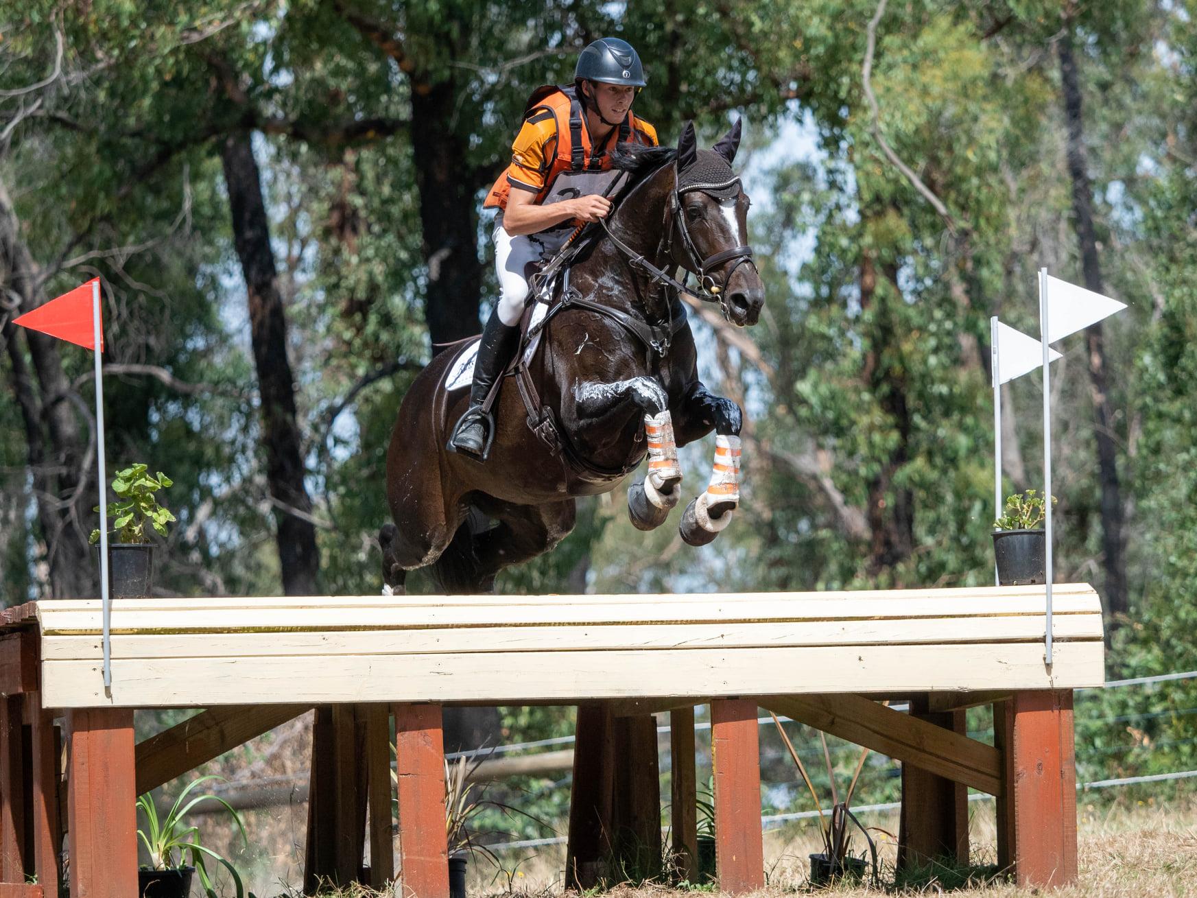 Sam Jeffree with Fiona Mitchell's Woodmount Lolita at Tonimbuk Horse Trials 2021 — photo by Tilly McDonald